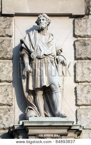 VIENNA, AUSTRIA - OCTOBER 10: Johann Scherpe: Marcomanian, on the facade of the Neuen Burg on Heldenplatz in Vienna, Austria on October 10, 2014.