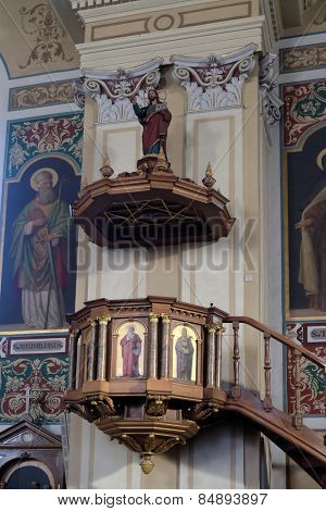 BAD ISCHL, AUSTRIA - DECEMBER 14: Pulpit in parish church of St. Nicholas in Bad Ischl, Austria on December 14, 2014.