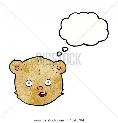 cartoon teddy bear head with thought bubble