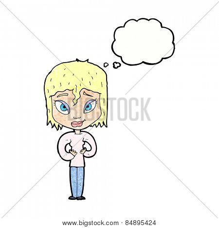 cartoon satisfied woman with thought bubble