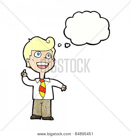 cartoon school boy raising hand with thought bubble