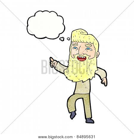 cartoon man with beard laughing and pointing with thought bubble