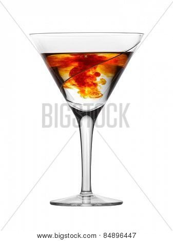 Glass with water and red drops, isolated on white background
