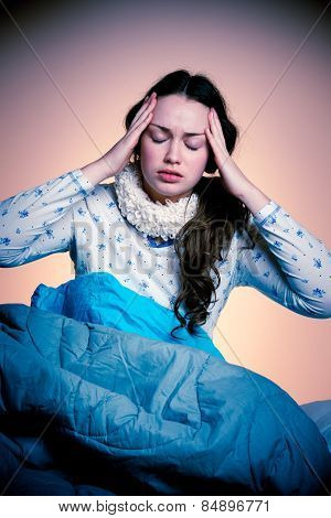Asian Caucasian Woman Having A Head Ache - Girl With Pain In Head