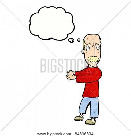 cartoon balding man explaining with thought bubble