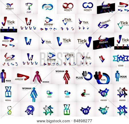 Vector universal mega set of company logos - infinity, letters, loops and other