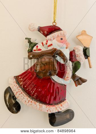 Red Santa Claus Tinplate Xmas Decoration