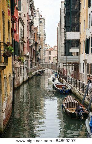 Narrow Channel In Venice