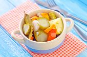 pic of pickled vegetables  - pickled vegetables in a bowl on the kitchen table - JPG