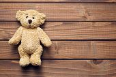 picture of teddy  - the teddy bear on wooden table - JPG