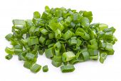 picture of scallion  - chopped spring onion or scallion isolated on white background cutout - JPG