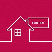 foto of house rent  - House with a sign for rent - JPG