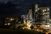image of parade  - Gold Coast Coolangatta CBD nightscape with traffic from Marine Parade - JPG