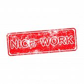 foto of you are awesome  - nice work red grunge rubber stamp vector illustration - JPG