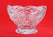pic of crystal glass  - crystal vase on a red background - JPG