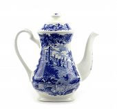picture of teapot  - Blue and white porcelain Chinese porcelain teapot with blue motif - JPG