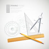 pic of mechanical drawing  - Vector illustration with drawing and drawing tools - JPG