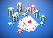 stock photo of flush  - image of a poker table with chips and flush hearts point - JPG