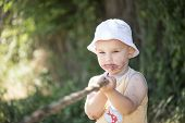 stock photo of mulberry  - Child dirty mouth by mulberries with a stick in hand - JPG