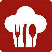 pic of chefs hat  - Chef hat silhouette with cutlery inside on red background - JPG