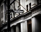 foto of broadway  - Broadway sign on Canyon of Heroes in new York in high contrast color - JPG
