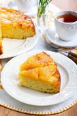 stock photo of upside  - Slices of apple upside down sponge cake - JPG