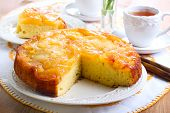 stock photo of upside  - Apple upside down sponge cake selective focus - JPG