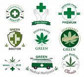 stock photo of medical marijuana  - Vector set of cannabis and marijuana. Set of marijuana  logo, labels
