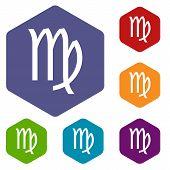 image of virgo  - Virgo rhombus icons set in different colors - JPG