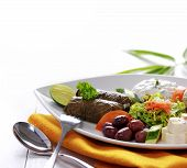 picture of greek food  - Greek vegetarian food mix pikilia with hummus tzatziki feta cheese dolmades and olives on white background - JPG