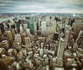 stock photo of freedom tower  - Midtown and lower Manhattan in New York City with grunge vintage overlay effect - JPG