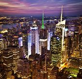 stock photo of empire state building  - New York sunset skyline taken from the Empire State Building  - JPG
