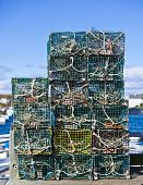 picture of lobster boat  - Crab or lobster pots on quayside in Maine - JPG