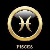 foto of pisces  - Pisces zodiac sign in oval frame vector Illustration - JPG