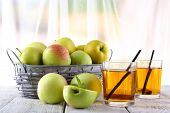 image of cider apples  - still life with apple cider and fresh apples on wooden table - JPG