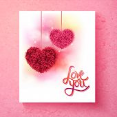 pic of two hearts  - Two romantic red and pink floral hearts with the message  - JPG