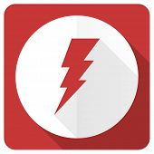 stock photo of flashing  - bolt red flat icon flash sign  - JPG