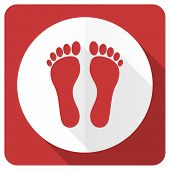 stock photo of flat-foot  - foot red flat icon   - JPG