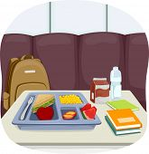 image of trays  - Illustration of a Tray of School Lunch Sitting in the Middle of the Cafeteria - JPG