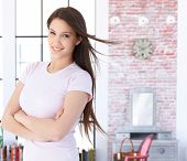 pic of single woman  - Portrait of smiling young caucasian woman at home - JPG