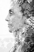 image of combine  - Double exposure of woman combined with photograph of leaves - JPG