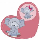 stock photo of child missing  - Greeting card Cute Dreaming Elephant on a heart background - JPG