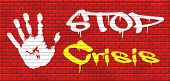 pic of stock market crash  - stop crisis recession and inflation stopping political economic financial downfall stock market crash graffiti on red brick wall, text and hand  - JPG