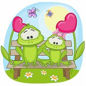 picture of baby frog  - Valentine card with Lovers Frogs on a bench - JPG