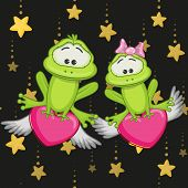 foto of baby frog  - Valentine card with Lovers Frogs on a stars background - JPG