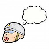 picture of policeman  - cartoon policeman head with thought bubble - JPG