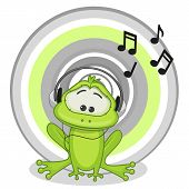 foto of cute frog  - Cute cartoon frog with headphones on a circle background - JPG
