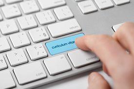 stock photo of keypad  - Curriculum vitae saved on internet - JPG