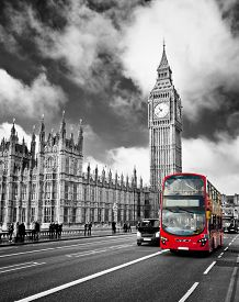 picture of british culture  - Houses of Parliament and Westminster bridge in London - JPG