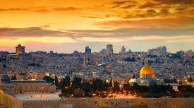 picture of israel people  - Panorama of Jerusalem old city - JPG
